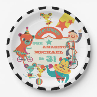 Placas de papel de circo del cumpleaños de encargo platos de papel