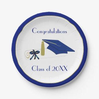 Placas de papel de encargo de la graduación azul y platos de papel
