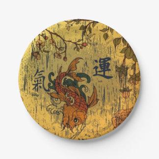 Placas de papel de encargo de los pescados de Koi Plato De Papel 17,78 Cm