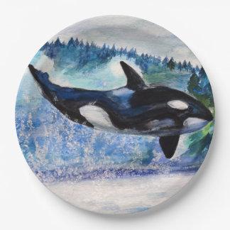 Placas de papel de encargo del arte de la ballena platos de papel