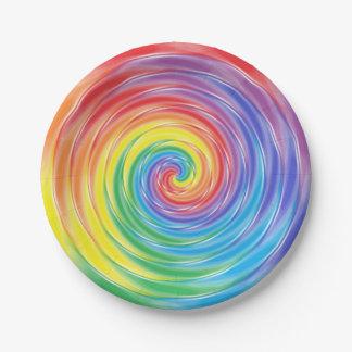 Placas de papel de giro del arco iris plato de papel de 7 pulgadas