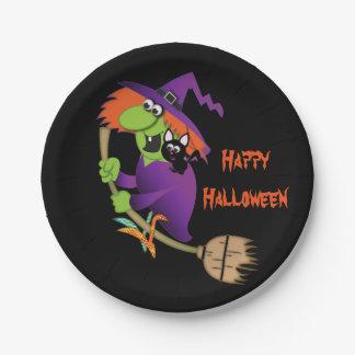 Placas de papel de Halloween de la bruja del Platos De Papel