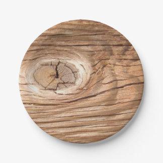 Placas de papel de Knothole del grano de madera Plato De Papel De 7 Pulgadas