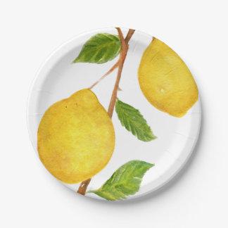 Placas de papel de la acuarela de los limones del platos de papel