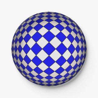 Placas de papel de la esfera azul y blanca de la plato de papel de 7 pulgadas