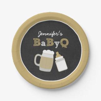 Placas de papel de la fiesta de bienvenida al bebé plato de papel de 7 pulgadas
