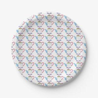 Placas de papel de la fiesta del té de las teteras platos de papel