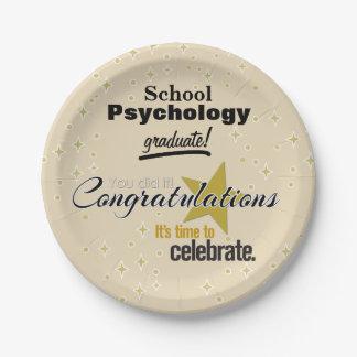 Placas de papel de la graduación de la psicología plato de papel de 7 pulgadas