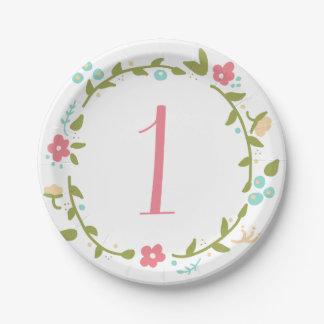 Placas de papel de la guirnalda cumpleaños floral platos de papel