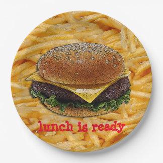 Placas de papel de la hamburguesa y de las plato de papel de 9 pulgadas