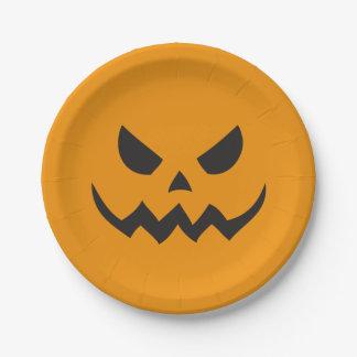 Placas de papel de la Jack-o-linterna de Halloween Plato De Papel De 7 Pulgadas