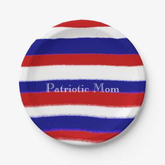 Placas de papel de la mamá patriótica plato de papel de 7 pulgadas