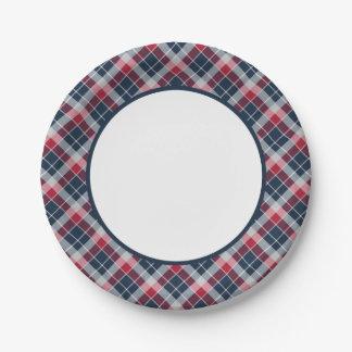Placas de papel de la marina de guerra, roja y plato de papel de 7 pulgadas