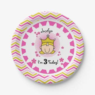 Placas de papel de la princesa 3ro cumpleaños plato de papel de 7 pulgadas