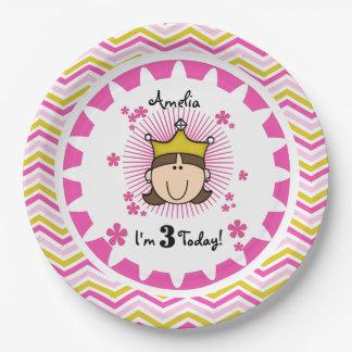 Placas de papel de la princesa 3ro cumpleaños plato de papel de 9 pulgadas