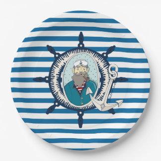 Placas de papel de la raya azul y blanca del plato de papel de 9 pulgadas