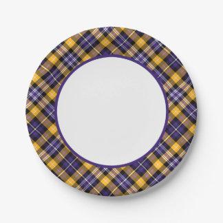 Placas de papel de la tela escocesa deportiva del plato de papel de 7 pulgadas
