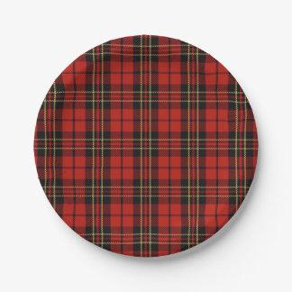 Placas de papel de la tela escocesa roja clásica plato de papel de 7 pulgadas