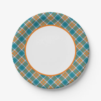 Placas de papel de la turquesa y de la tela plato de papel de 7 pulgadas