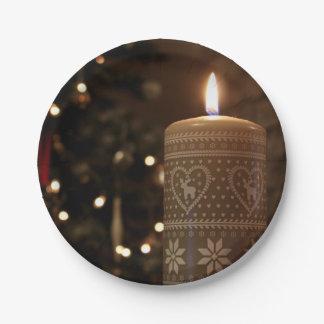 Placas de papel de la vela del navidad platos de papel
