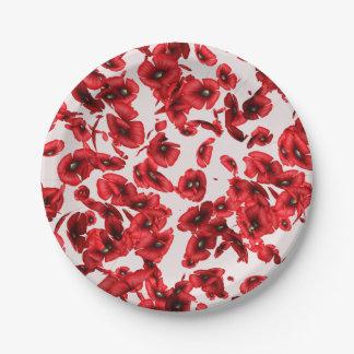 Placas de papel de las amapolas rojas que vuelan plato de papel de 7 pulgadas