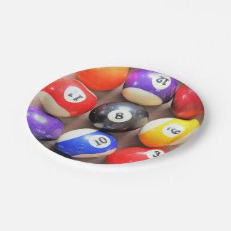 Placas de papel de las bolas de piscina plato de papel de 7 pulgadas