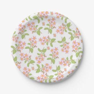 Placas de papel de las flores de cerezo rosadas de plato de papel de 7 pulgadas