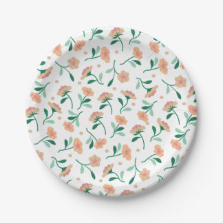Placas de papel de las flores que caen platos de papel