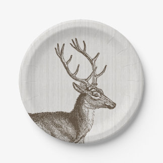Placas de papel de los ciervos del dólar del plato de papel de 7 pulgadas