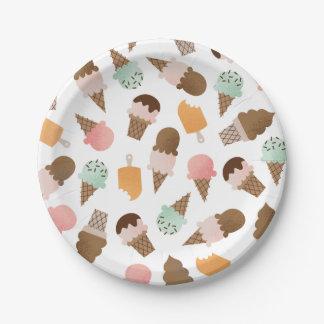 Placas de papel de los conos de helado plato de papel
