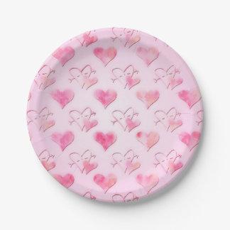 Placas de papel de los corazones de la acuarela plato de papel de 7 pulgadas