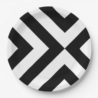Placas de papel de los galones blancos y negros plato de papel 22,86 cm