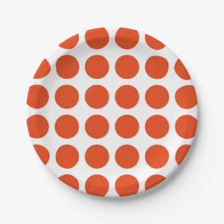 Placas de papel de los lunares anaranjados plato de papel de 7 pulgadas