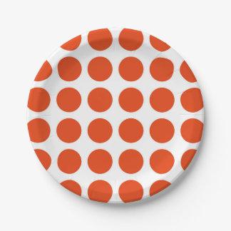 Placas de papel de los lunares anaranjados platos de papel