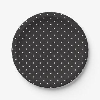 Placas de papel de los lunares blancos y negros platos de papel