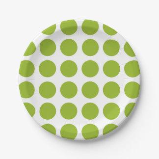 Placas de papel de los lunares de la verde lima plato de papel de 7 pulgadas