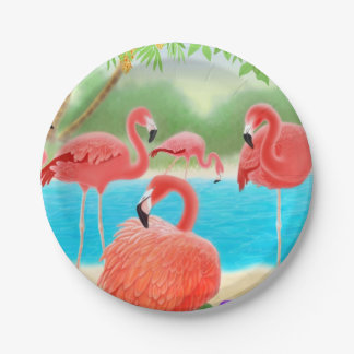 Placas de papel de los pájaros rosados del Caribe Plato De Papel De 7 Pulgadas