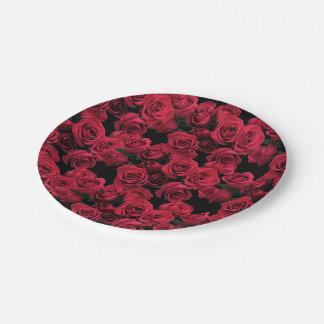Placas de papel de los rosas rojos platos de papel