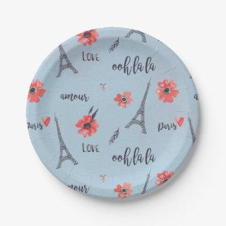 Placas de papel de París del la del la de Ooh Platos De Papel