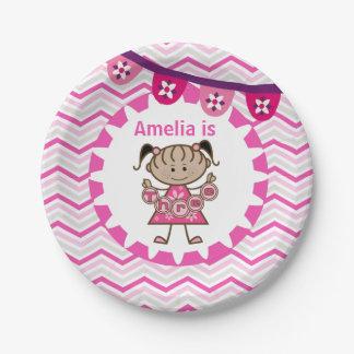 Placas de papel del 3ro cumpleaños de la niña plato de papel de 7 pulgadas