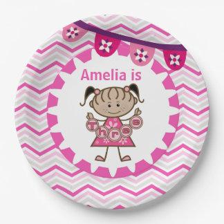 Placas de papel del 3ro cumpleaños de la niña plato de papel de 9 pulgadas