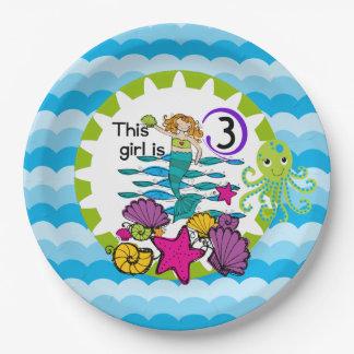 Placas de papel del 3ro cumpleaños de la sirena plato de papel de 9 pulgadas