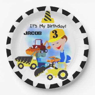 Placas de papel del 3ro cumpleaños de los camiones plato de papel de 9 pulgadas