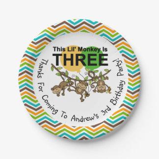 Placas de papel del 3ro cumpleaños de los monos de plato de papel de 7 pulgadas