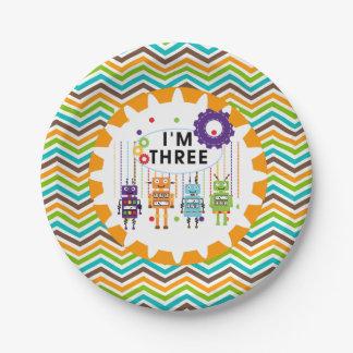 Placas de papel del 3ro cumpleaños de los robots plato de papel de 7 pulgadas