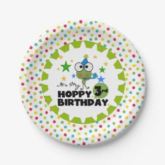 Placas de papel del 3ro cumpleaños de lúpulo de la plato de papel de 7 pulgadas