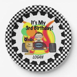 Placas de papel del 3ro cumpleaños del coche de plato de papel de 9 pulgadas
