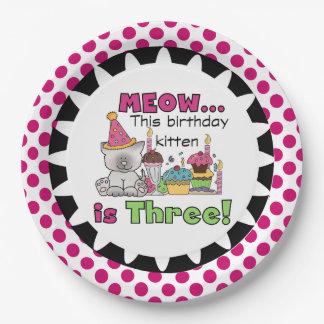Placas de papel del 3ro cumpleaños del gatito del plato de papel de 9 pulgadas