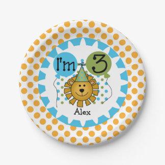 Placas de papel del 3ro cumpleaños del león del plato de papel de 7 pulgadas