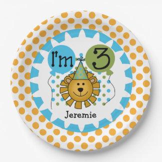 Placas de papel del 3ro cumpleaños del león del plato de papel de 9 pulgadas